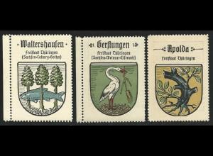 Thüringen, Wappen Waltershausen, Gerstungen, Apolda, 3 attraktive Sammelbilder