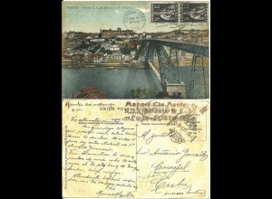 Portugal 1912, 2x 1/2 C. bildseitig auf AK v. Porto i.d. Karibik. Destination!