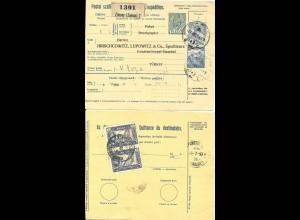 Ungarn 1917, 25 F.+2 Kr. auf Paketkarte v. Zimony m. rücks. 2 Türkei Marken.