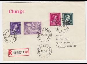 Belgien 1947, -10% van Aker Überdrucke auf Einschreiben Brief i.d. Schweiz #2564