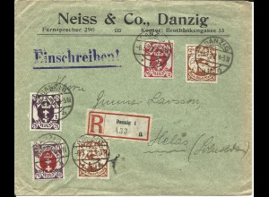 Danzig 1922, 5 Marken auf Firmen Einschreiben Brief n. Schweden