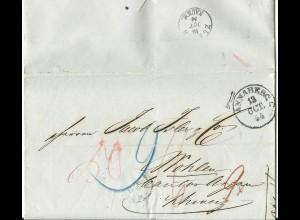 Sachsen 1854, K1 ANNABERG auf Porto Brief i.d. Schweiz