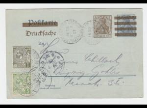 DR 1907, 3 nb. 2 Pf. Drucksache Ganzsache m. Monaco 1+5 C. n. Leipzig gelaufen
