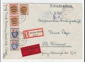 Franz. Zone 1946, 5 Werte + Geb. Bez. auf Einschreiben Eilboten Brief v. Kochem