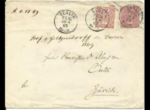 NDP U 28B, 1 Gr. Zusatzfr. auf 1 Gr. Ganzsache Brief v. Berlin PE10 i.d. Schweiz