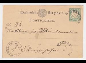 Bayern 1876, HKS Wachenheim auf Ganzsache n. Ludwigshafen. #2304