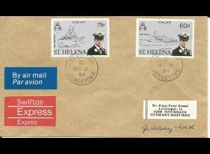 St. Helena, 11+60 P. auf Luftpost Eilboten Brief n. Deutschland