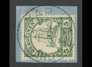 Karolinen 8, 5 Pf. auf Briefstück m. Stpl. YAP.