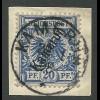 Kamerun 4, 20Pf. auf Briefstück m. Stpl. KAMERUN 22/1 98.