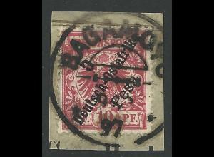 DOA 8, 5 P./10 Pf. auf Briefstück m. Stpl. BAGAMOYO.