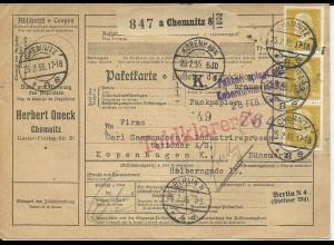 DR 1935, 10+50+3x80 Pf. vorder- u. rücks.auf Paketkarte v. Chemnitz n. Dänemark
