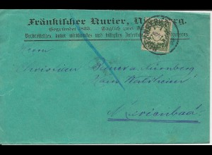 Bayern 1898, EF 5 Pf. auf Drucksachen Schleife v. Nürnberg n. Marienbad, Böhmen