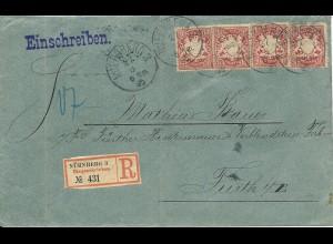 Bayern 1895, MeF 4x10 Pf. auf Einschreiben Brief v. Nürnberg n. Fürth