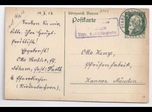 Bayern 1913, Posthilfstelle Nöham Taxe Furth b. Pfarrkirchen auf Ganzsache #1375