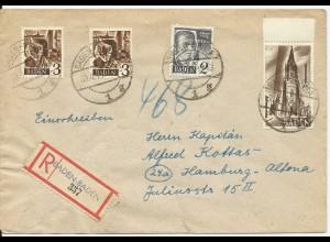 Franz. Zone 1948, 4 Marken portirichtig auf Einschreiben Brief v. Baden-Baden