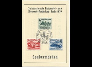 DR 686-8, Int. Auto- u. Motorrad -Ausstellung, alle 3 Werte auf FDC Sonderkarte