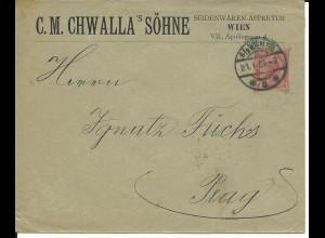 Österreich 1905, gebr. 10 H. Privat Ganzsache Brief v. Wien n. Prag
