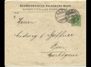 Schweiz 1908, gebr. 5 C. Privat Ganzsache Brief Schweizerische Volksbank Bern