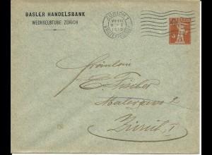 Schweiz 1919, gebr. 3 C. Privat Ganzsache Basler Handelsbank Wechselstube Zürich