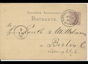 DR 1880, Klaucke Nr.33 Burg Reg.Bez Magdeburg auf 5 Pf. Ganzsache. Frühes Datum!