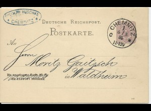DR 1885, Klaucke Nr.35 CHEMNITZ c auf 5 Pf. Frageteil Ganzsache.