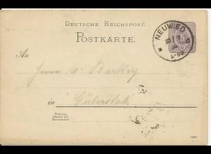 DR 1889, Klaucke Nr.115 NEUWIED auf 5 Pf. Ganzsache