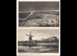 Ostseebad Graal Müritz, 2 ungebr. sw AK m. Windmühle u. Fliegeraufnahme. #340