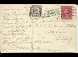 USA 1912, Rotes Kreuz Weihnachten Vignette auf Chistmas AK v. Cleveland