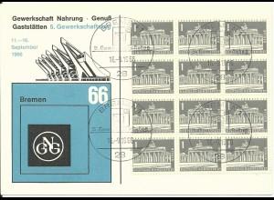 Gewerkschaft Nahrung Genuss, Karte m. Bremen Sonderstpl. 5. Gewerkschaftstag