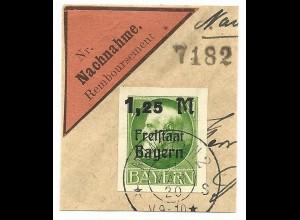 Bayern 174B, ungez. 1,25/1 Mk. auf schönem Briefstück v. München. Geprüft.