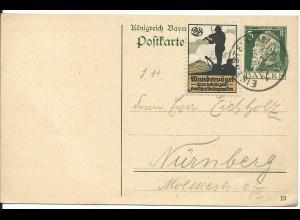 Bayern 1913, 5 Pf. Ganzsache m. K1 EISENSTEIN u. 2 Pf. Vignette Wandervögel