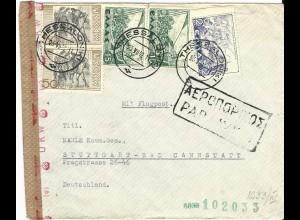 Griechenland 1942, 5 Marken auf Luftpost Brief v. Thessaloniki m. Dt. OKW Zensur