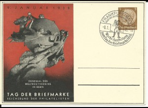 DR PP122-C70-02, Privat Ganzsache Tag der Briefmarke m. Abb. UPU Denkmal