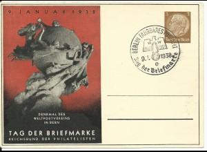 DR PP122-C70-02, 3 Pf. Privat Ganzsache Tag der Briefmarke m. Abb. UPU Denkmal