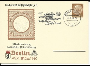 DR PP122/104-01, 3 Pf. Privat Ganzsache 46. Dt. Philatelistentag m. Spl. Berlin