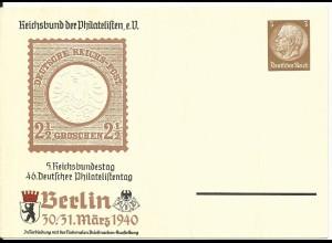 DR PP122/104-04, ungebr. 3 Pf. Privat Ganzsache 46. Dt. Philatelistentag Berlin