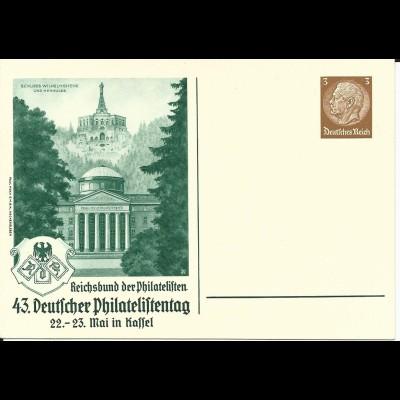 DR PP122-C115-02, ungebr. 3 Pf. Privat Ganzsache 43 Dt. Philatelistentag Kassel