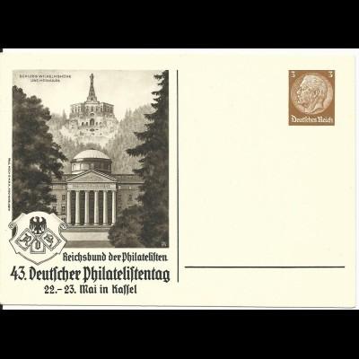 DR PP122-C115-01, ungebr. 3 Pf. Privat Ganzsache 43 Dt. Philatelistentag Kassel