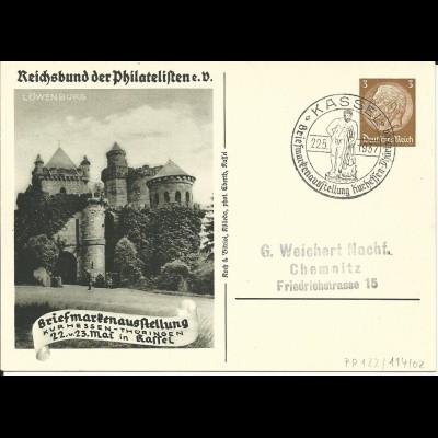 DR PP122-C114-02, 3 Pf. Privat Ganzsache Briefmarkenausstellung Kassel 1937