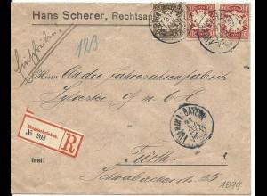 Bayern 1899, 3+2x10 Pf. auf Orts Reko Brief v. Fürth. 23 Pf.-Frankatur!