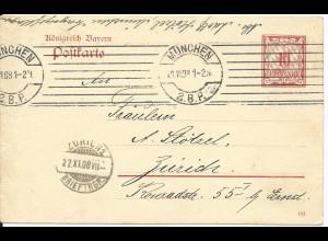 Bayern 1908, Maschinenstempel München 2.B.P. auf Ganzsache i.d. Schweiz