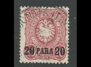 DP Türkei 2b, gebr. 20 Pa./10 Pf. Geprüft
