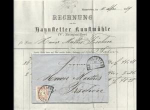 Bayern 1869, breitr. 3 Kr. auf Brief m. HKS HAUNSTETTEN (Sem 150.-) n. Fischen
