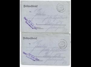 1918, Res.Div. Blinkerabteilung, 2 Brief m. aptiertem FP Stempel n. Posen. #1450