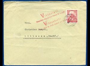 Böhmen u. Mähren 1941, 1,20 K. auf Brief v. Prag m. V Viktoria! Propaganda Stpl.