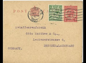 GB 1923, 1/2d m. Firmenlochung Perfin auf 1d Ganzsache v. London