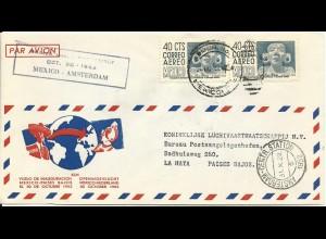 Mexiko 1952, 2x40 C. auf KLM Erstflug Brief Mexico - Amsterdam NL