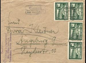 DR 1942, MeF 4x6+9 Pf. Kameradschaftsbl. portorichtig auf Brief v. Schwabmünchen