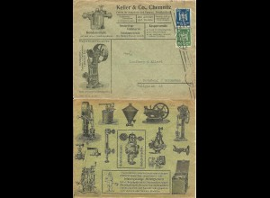 DR 1926, 5+20 Pf. auf attraktivem Reklame Brief d. Fa. Keller & Co. Chemnitz