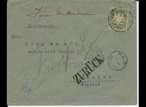 Bayern 1897, 5 Pf. auf Brief v Fürth n. Bristol GB m. diversen Retour Stempeln